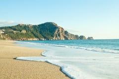 帕特拉海滩(Kleopatra海滩)在阿拉尼亚,土耳其 免版税库存照片