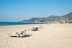 帕特拉海滩(Kleopatra海滩)在阿拉尼亚,土耳其 库存图片