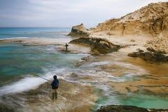 帕特拉的在Marsa马特鲁,埃及附近的海滩盐水湖 库存图片