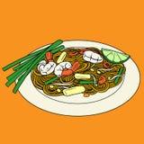 帕特泰国混乱油煎的米线地方泰国食物 皇族释放例证