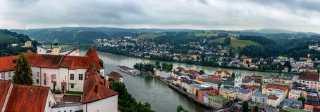 帕绍,巴伐利亚,德国全景  多瑙河,旅行 免版税库存图片