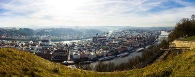 帕绍,巴伐利亚,德国全景  免版税库存图片
