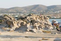 帕罗斯岛,希腊, 2015年8月06日 Kolymbithres在帕罗斯岛海岛的海滩风景在希腊 免版税图库摄影
