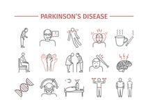 帕金森` s疾病 症状,治疗 线被设置的象 网图表的传染媒介标志 免版税库存照片