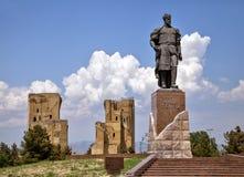 帖木尔雕象在沙赫里萨布兹,乌兹别克斯坦 库存照片