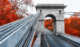 帝国链河上的桥Luznice, Stadlec,捷克,欧洲 免版税图库摄影