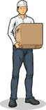 带来纸盒配件箱的送货人 库存照片