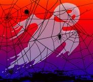 带来蜘蛛和蜘蛛网为万圣夜 库存照片