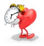 带来闹钟与胳膊,腿的心脏 免版税库存图片