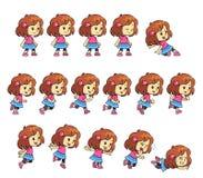 带淡红色的女孩比赛魍魉 免版税库存照片