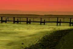 带淡红色的日落 免版税库存图片