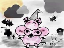 带淡红色的猪谈话在万圣夜天 免版税库存图片