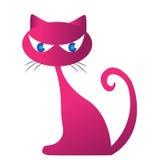 带淡红色的猫剪影 免版税库存图片