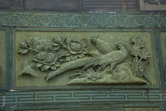 带状装饰孔雀 图阿Pek孔中国人寺庙 民都鲁市,婆罗洲,沙捞越,马来西亚 库存图片