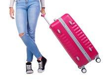 带着一个桃红色手提箱的女孩旅客 背景查出的白色 图库摄影