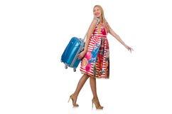 带着准备好的手提箱的妇女 免版税库存照片