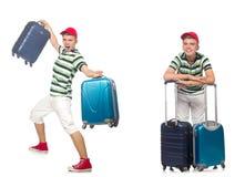 带着在白色隔绝的手提箱的年轻人 图库摄影
