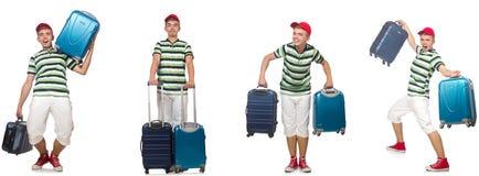 带着在白色隔绝的手提箱的年轻人 免版税库存图片