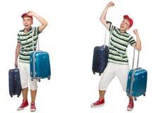 带着在白色隔绝的手提箱的年轻人 免版税图库摄影