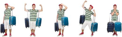 带着在白色隔绝的手提箱的年轻人 库存照片