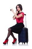 带着在白色隔绝的手提箱的俏丽的女孩 免版税库存照片