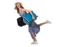 带着在白色隔绝的手提箱的妇女 库存图片