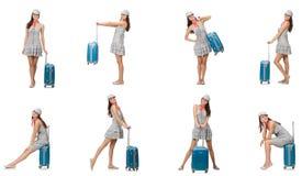 带着在白色隔绝的手提箱的旅行的妇女 库存照片