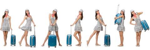 带着在白色隔绝的手提箱的旅行的妇女 图库摄影