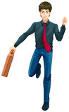 带着手提箱的一个男性企业象 免版税库存照片