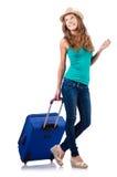 带着手提箱的女孩 免版税图库摄影