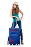 带着手提箱的女孩 免版税库存图片