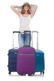 带着手提箱的女孩 免版税库存照片