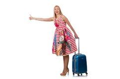带着手提箱的妇女旅行家 免版税图库摄影