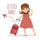 带着手提箱的愉快的女孩 Lets去旅行 皇族释放例证