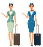带着手提箱的逗人喜爱的动画片空中小姐 免版税图库摄影