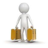 带着手提箱(包括的裁减路线的人) 免版税库存图片