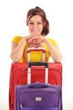 带着旅行手提箱的少妇 旅游为旅行准备 免版税库存图片