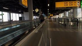 带着继续前进机场自动扶梯的手提箱的男性旅客向门,假期 股票录像