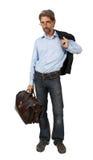 带着被隔绝的手提箱的人 免版税库存照片