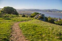 带领下坡在圆环山的土足迹在马林县加利福尼亚 免版税库存照片