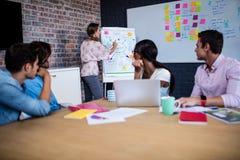 带领与一个小组的经理一次会议创造性的工友 免版税图库摄影