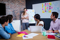 带领与一个小组的经理一次会议创造性的设计师 免版税库存照片