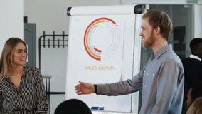 带领交互式办公室研讨会的年轻专业男性企业教练,谈话与愉快的女性雇员在flipchart 影视素材