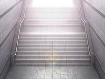 带领从一个具体步行地铁的楼梯 成功的概念 3d例证 库存图片