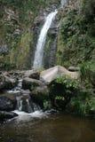 带领入小河的卡丝卡达乐团Taxopamba瀑布流动入水池奥塔瓦洛厄瓜多尔 库存照片
