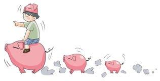 带领小的猪的贪心男孩(设置9) 库存图片