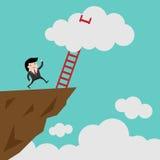 带领成功的梯子覆盖和许多短部分 事务、目标,竞争,独特,进展、挑战、希望和领导 免版税图库摄影