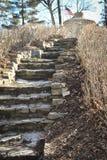 带领石的楼梯在菲尔普斯公园, Decorah, IA干燥 库存照片