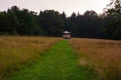 带领通过领域的自然象草的道路在森林toRed小屋 库存照片