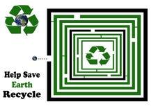帮助保存地球正方形回收迷宫 免版税库存图片